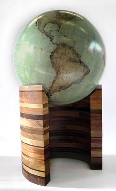 """One of a kind floor standing terrestrial world globe with modern cartography, 80cm """"Wood Curve"""", Bellerby & Co Globemakers. Handcrafted & bespoke globes."""