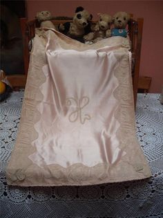 ANTIQUE VICTORIAN HANDMADE PINK SILK SATIN LACE ANIMAL BABY DOLL COT COVER in Antiques, Fabric/ Textiles, Lace/ Crochet/ Doilies | eBay