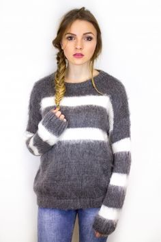 Pull cocoon gris rayures blanches