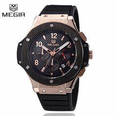 022e811d15a Megir Sport Quartz Clock Mens Watches Top Brand Luxury Chronograph Quartz- watch Silicone Gold Male