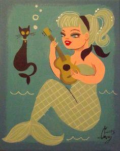 EL GATO GOMEZ PAINTING RETRO KITSCHY MERMAID PINUP GIRL CAT BEATNIK 50S TIKI BAR #Modernism