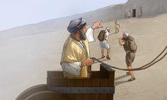 Sebna dá ordens aos homens que constroem sua sepultura