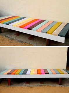 25 DIY Garden Projects Anyone Can Make DIY painted garden bench for the front of the Port house. Love the colors! The post 25 DIY Garden Projects Anyone Can Make appeared first on Pallet Ideas. Diy Garden Projects, Pallet Projects, Diy Pallet, Pallet Wood, Pallet Ideas, Garden Pallet, Woodworking Projects, Pallet Decking, Brick Garden