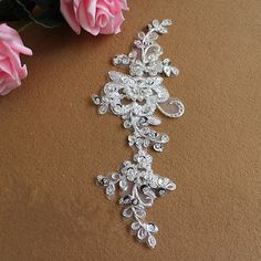 Beaded Silver Lace Applique Lace Fabric Trim Bridal Embroidery Applique 1 Pair | eBay