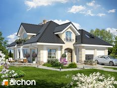 будинок у dabrowka 2 - The world's most private search engine House Plans Mansion, Family House Plans, Dream House Plans, Contemporary House Plans, Modern House Design, House Balcony Design, House Architecture Styles, Modern Bungalow House, Beautiful House Plans