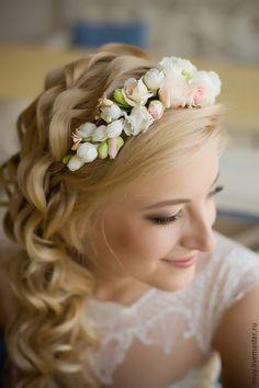 Купить Свадебный венок-диадема - разноцветный, невеста, Украшение ручной работы, ободок с цветами