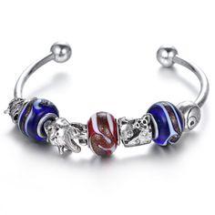 Braccialetti del polsino stile caldo di vendita di cristallo d'argento braccialetto di fascino per le donne con il blu di murano perle di vetro primavera boemia braccialetto di perline (China (Mainland))