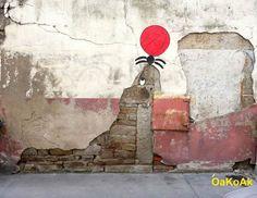 Streat Art - Un artiste s'amuse avec le milieu urbain qui l'entoure.