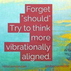 """Stop """"shoulding"""" all over yourself! """"Vibrationally aligned"""" is the way to roll!"""