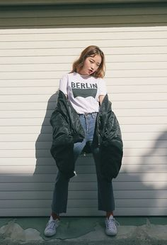 korean fashion street jeans shirt denim bomber