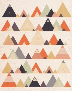 All sorts of beautiful pattern/prints at the site. [t r i a n g l e s : DESIGNER - louise harding] contemporary geometric mountain minimalist print art scandi style Geometric Patterns, Textures Patterns, Fabric Patterns, Geometric Shapes, Design Web, Art Design, Quilt Design, Motifs Textiles, Quilt Modernen