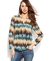 INC International Concepts Printed Button-Front Blouse