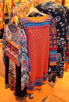 Make your day look better in color. These IVKO dresses are a unique style, and they're all over Europe. These fine knit dresses are made of Merino wool, in a patchwork pattern.