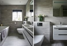 Contemporary Family Bathroom – Hawk K&B Shower Niche, Shower Enclosure, Contemporary Grey Bathrooms, Tile Covers, Grey Tiles, Elements Of Style, Family Bathroom, Luxury, House