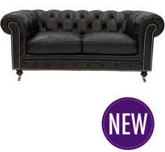 Worn Charcoal Leather Chesterfield – 2 or 3 Seater