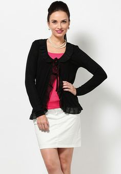 Vero Moda Full Sleeve Black Shrug - Buy Women Shrugs Online | VE693WA75IKMINDFAS