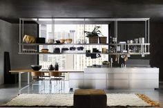 Design stainless steel kitchen CONVIVIUM: COMPOSITION 1 by Antonio Citterio Arclinea