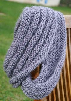 cowl....cast on 100 stitches using circular needles, knit 4 rows, purl 4 rows, repeat until the width you want, end with knit 4 rows and bind off. Easy!