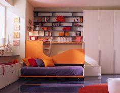 orange lila sofabett wohnideen kinderzimmer mädchen