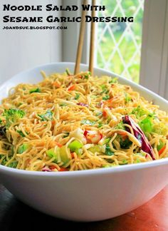 Sesame Garlic Noodle Salad Searching for the perfect dish to bring to your next potluck? Whip up Sesame Garlic Noodle Salad. This healthy salad recipe is crisp and tasty! Potluck Recipes, Healthy Salad Recipes, Vegetarian Recipes, Dinner Recipes, Cooking Recipes, Healthy Potluck, Wonton Recipes, Vegetarian Cooking, Healthy Cooking