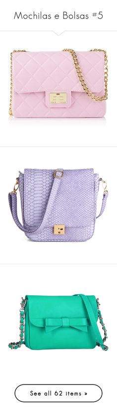 """""""Mochilas e Bolsas #5"""" by franca-helo ❤ liked on Polyvore featuring bags, handbags, shoulder bags, purses, accessories, bolsas, lilac, quilted purses, pink hand bags and quilted shoulder bag"""