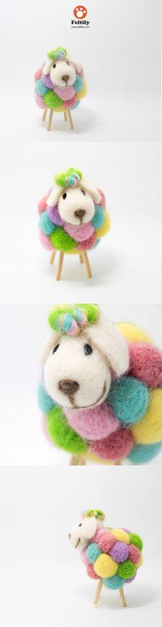 Needle Felted Felting Animals Sheep Color Cute Craft Use sticks for legs on pom poms Wool Needle Felting, Needle Felting Tutorials, Needle Felted Animals, Wet Felting, Felt Animals, Felt Ball, Felt Hearts, Felt Diy, Cute Crafts