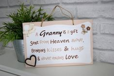 Items similar to Unique Mother's Day Gift for Granny. Thoughtful Present. Unique Mothers Day Gifts, Unique Christmas Gifts, Gifts For Mum, Grandma Gifts, Personalized Mother's Day Gifts, Handmade Gifts, School Signs, Hand Painted Signs, Wall Plaques