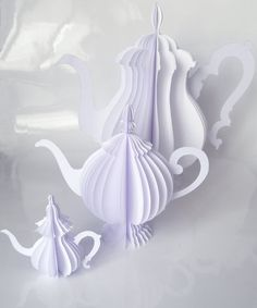 set of 3 paper teapots by kraft & carat on Etsy