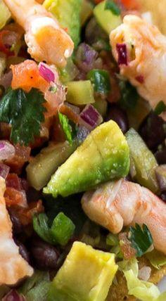 Avocado Shrimp Ceviche Tostadas