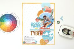 weekly challenge: scrapbook with Split Complementary Colours // scrapbook page by Meghann Andrew