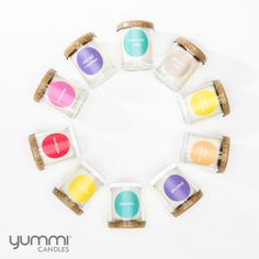 Yummies Scented Votive Tumblers by Yummi Candles. Over 40 Fragrances to choose from. Brown Candles, Purple Candles, Tea Light Candles, Tea Lights, Scented Candles, Candle Jars, Scented Oil Diffuser, Floating Candles Wedding, Candle Accessories