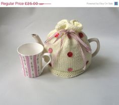 25 off Cream Red and Pink Tea Cosy by thesequinnedsheep on Etsy, £18.75