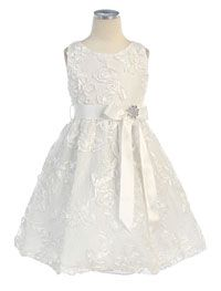 Flower Girl Dresses -   Girls Dress Style 418- Embroidered Lace Dress with Satin Ribbon