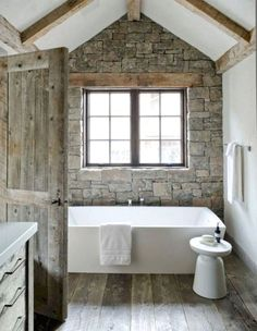 43 Stunning Rustic Modern Bathroom Design Ideas Ideas 24 Stone Used In Bathroom Modern Rustic Bathroom Design Stone Wood Beams White Modern Tub 7 House Design, House, Rustic Bathroom Designs, Modern Rustic Homes, House Interior, Rustic Bathrooms, Bathrooms Remodel, Bathroom Design, Rustic House