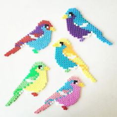 Birds perler beads by perler_art Perler Bead Designs, Hama Beads Design, Diy Perler Beads, Pearler Bead Patterns, Perler Bead Art, Perler Patterns, Pearler Beads, Art Perle, Iron Beads