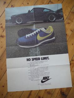 """No speed limit"" vintage Nike ad.(hint that's micheal jordan porsche in the back when he played for the Barrons )"