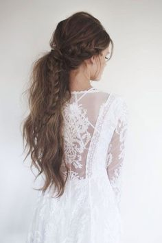 dress white dress hipster wedding wedding dress hairstyles lace top hair/makeup inspo wedding hairstyles lace dress white summer dress beautiful romantic hair braid ponytail date outfit princess dress on point clothing stylish style trendy long dress blogger