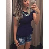 Peplum Bandagem Blusinha Feminina Modela O Corpo