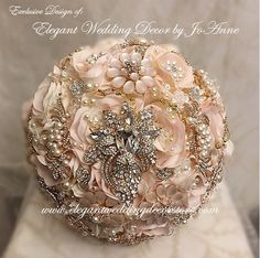 BROOCH BOUQUET Blush Pink and Gold Bridal Brooch Bouquet