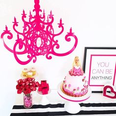 Glam Barbie Birthday Party on Kara's Party Ideas | KarasPartyIdeas.com | Hot Pink Chandelier NK styled by Celebration Stylist