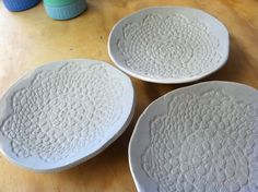 Lace pressed ceramic plate set by athurston2255 on Etsy, $50.00