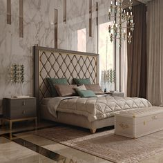 Italian Designer Art Deco Inspired Upholstered Bed with Tall Headboard