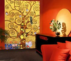 Tree of Life - Gustav Klimt mural for family room hall space