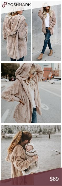 """New Tan Faux fur soft cardigan coat Hood Pockets Length: Shoulder to hem length measures 31"""" Model is 5'7"""" and Cardigan is One Size Model picture is color edited   PRICE FIRM  This is a preorder item and gets shipped to me next week  Please be aware that if you see sellers selling this in S, M, L, etc. it is not the exact one the model has on in the picture. This is a one size fits all product as you can see by the original  description in the last photo. Sweaters Cardigans"""