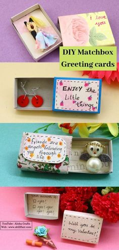 DIY Matchbox Greeting Cards #cards #DIY #greeting #matchbox Handmade Birthday Gifts, Funny Birthday Gifts, Birthday Gifts For Best Friend, Happy Birthday Cards, Friend Birthday, Birthday Quotes, Funny Gifts, Matchbox Crafts, Matchbox Art