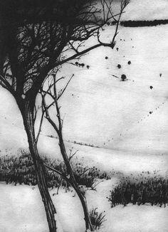"""""""South Downs Winter An intaglio print of a winter landscape - Christopher Knox Landscape Drawings, Abstract Landscape, Contemporary Landscape, Art And Illustration, Galerie Saatchi, Intaglio Printmaking, Collagraph, Etching Prints, Graphite Drawings"""