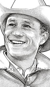 Wall Street Journal portrait (hedcut) of Heath Ledger