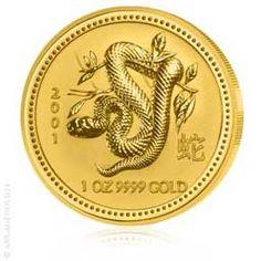 1 oz Gold Lunar Jahr der Schlange 2001