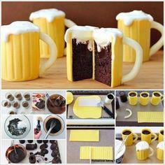 Veja como se faz bolo com formato de caneca com cerveja | Artesanato na Prática