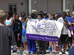 Stetson Elementary School students hold a Relay Recess banner May 3, before an American Cancer Society Relay Recess at Stetson Elementary School. Kindergarten-fifth grade students spent Spirit Week, April 30-May 4, learning about healthy lifestyles and raising cancer awareness. The two final days' events include a Relay Recess, an abbreviated version of the ACS's national signature activity, Relay For Life. Stetson Elementary School is holding the only Relay Recess in Colorado Springs.